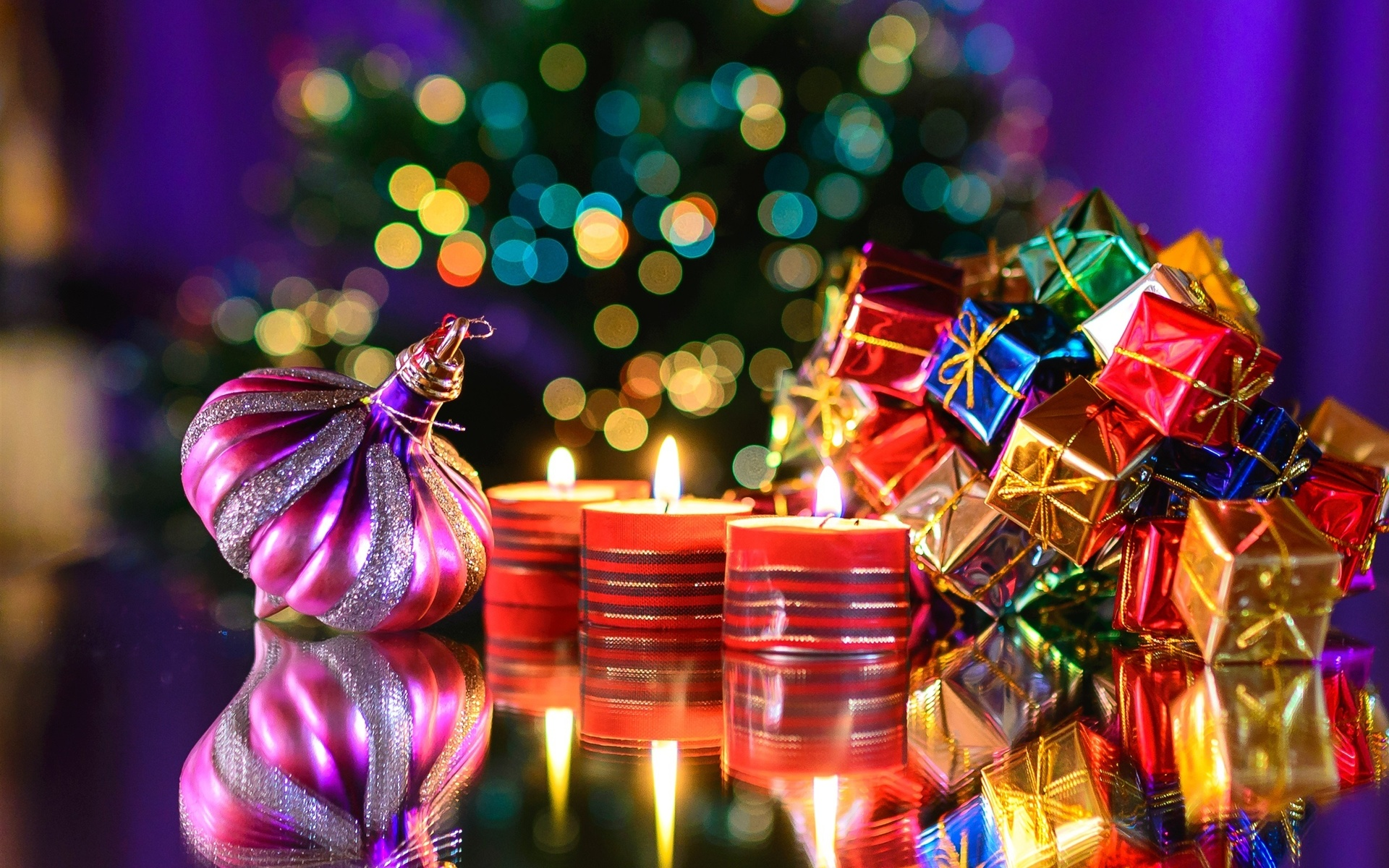 праздник, новый год, рождество, игрушки, подарки, боке, свечи, ёлка