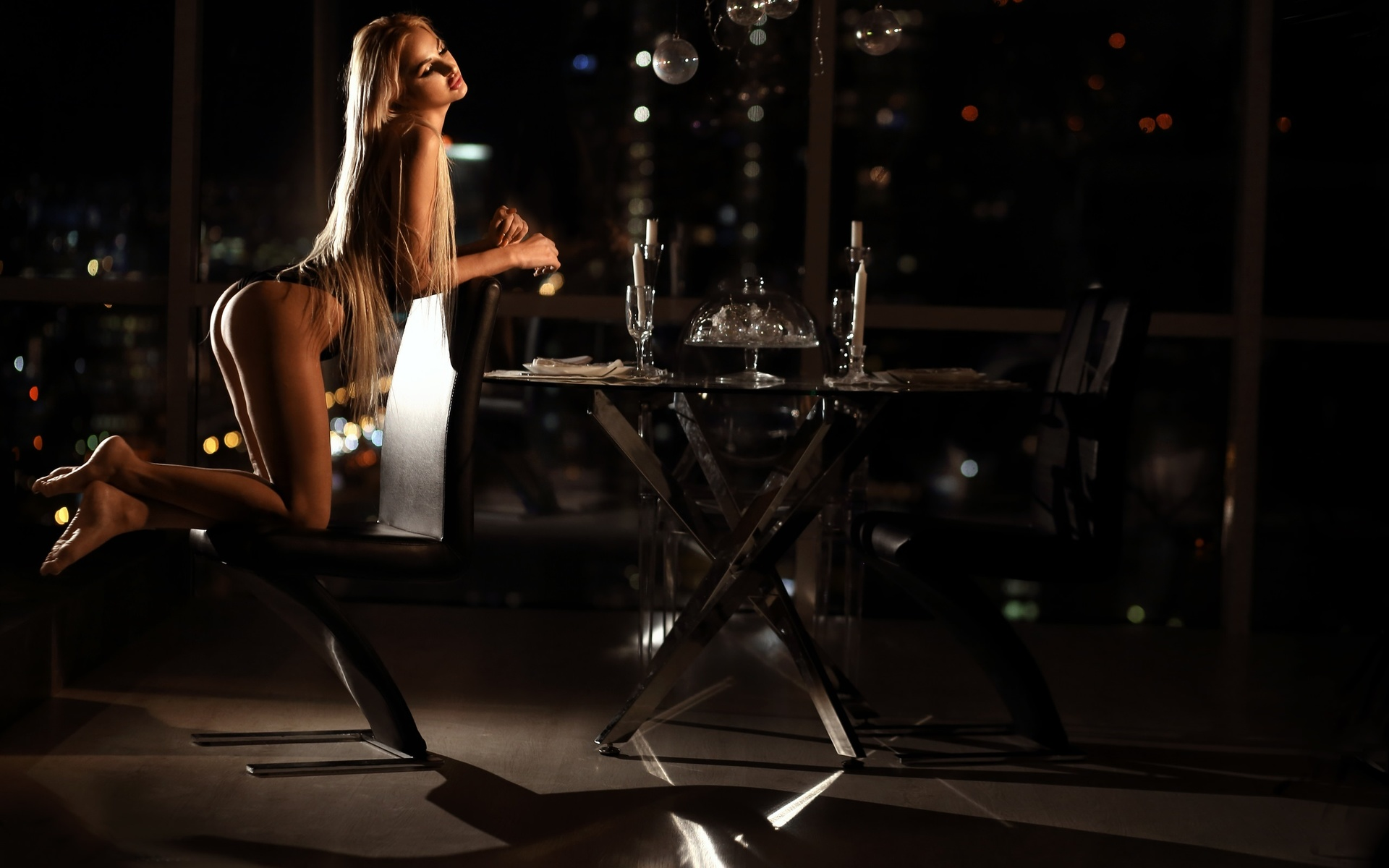 women, kneeling, brunette, blonde, ass, chair, table, long hair, candles, drinking glass, skinny, black lingerie, bokeh, ника мельн ,александр мельн