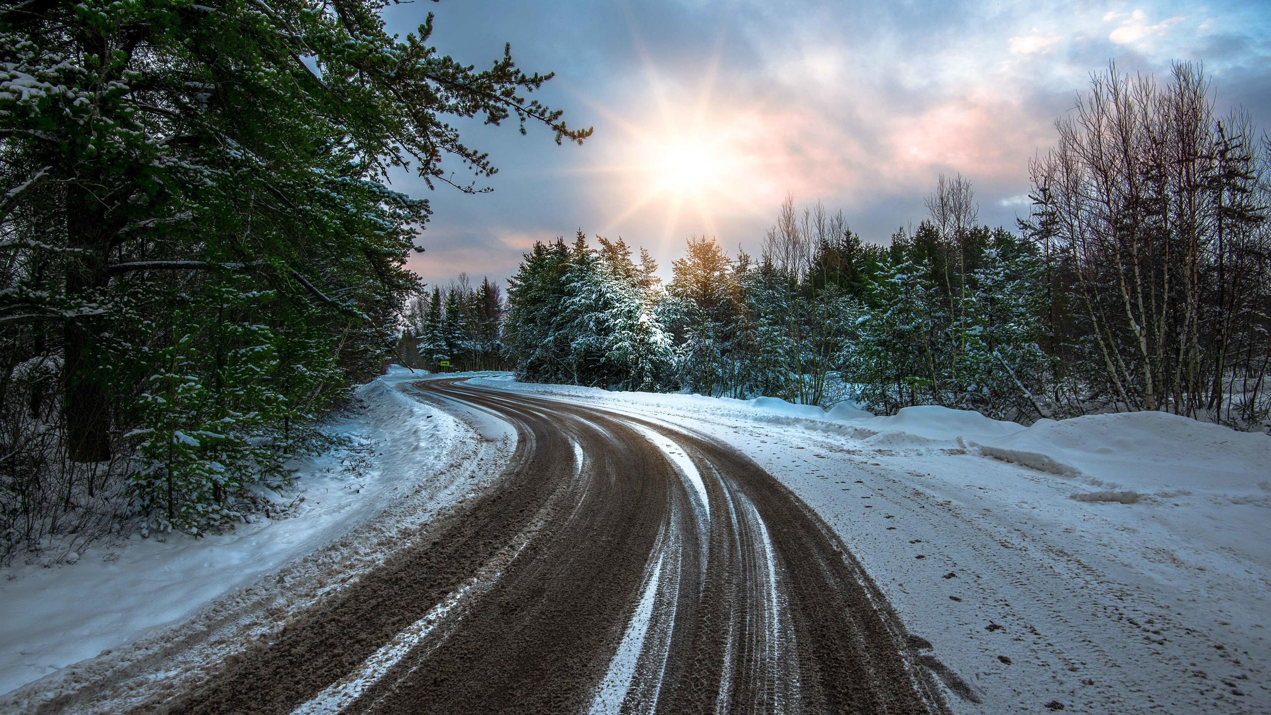 природа, зима, снег, дорога, поворот