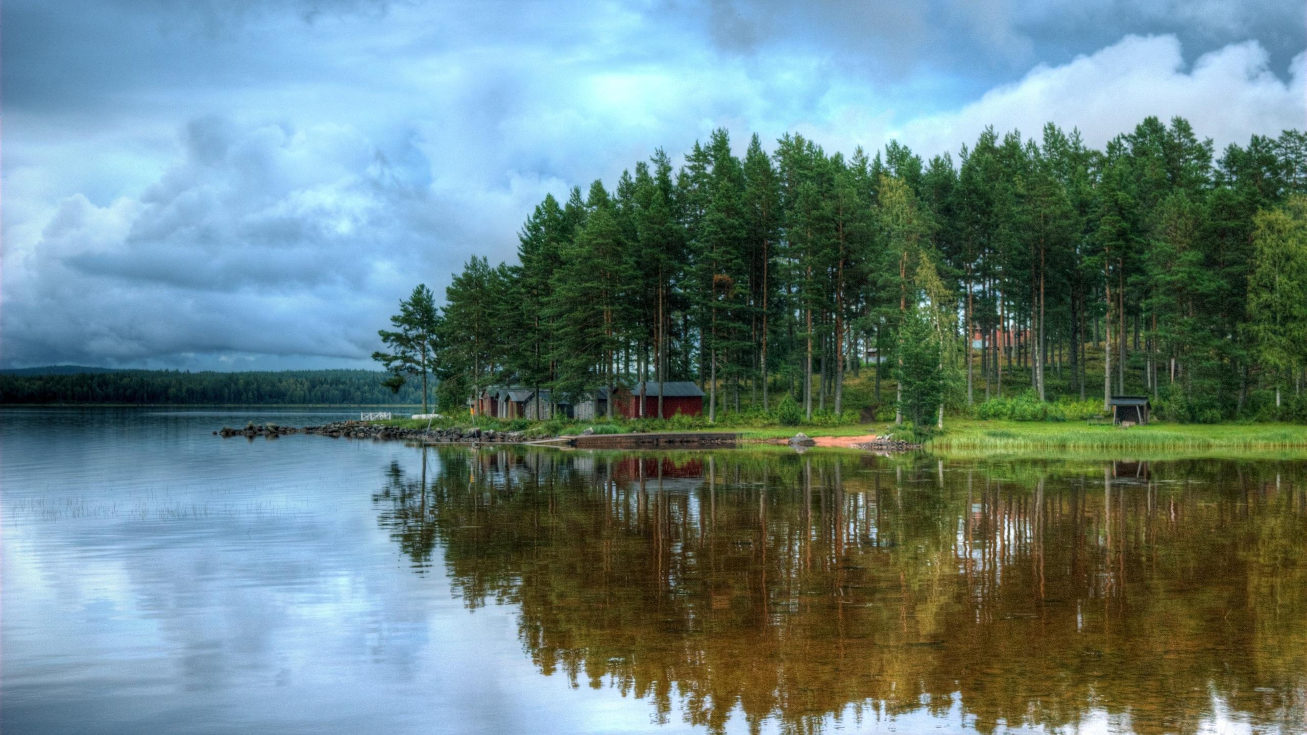 река, отражение, деревья, домики