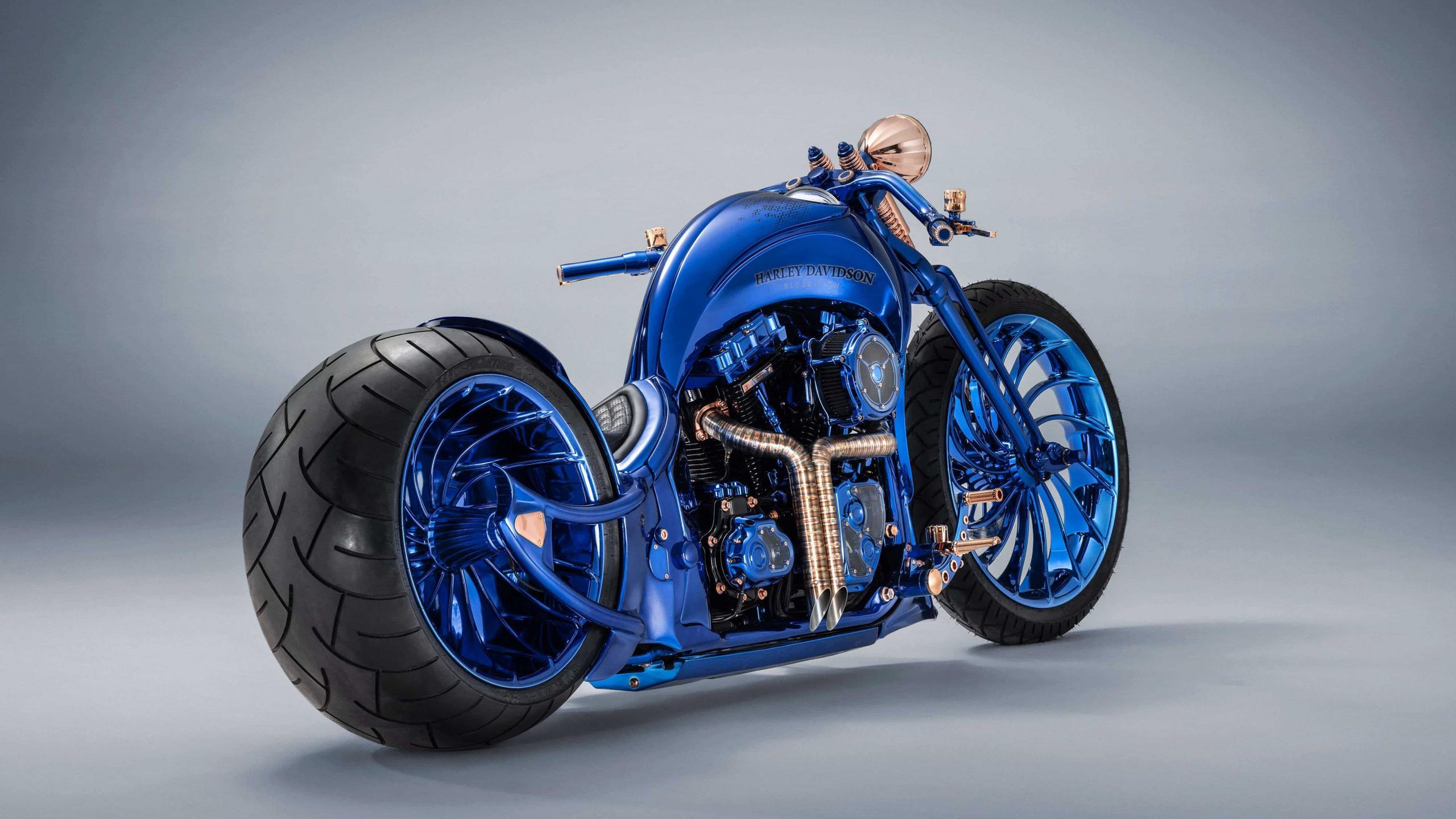 harley davidson, luxury, blue, chopper