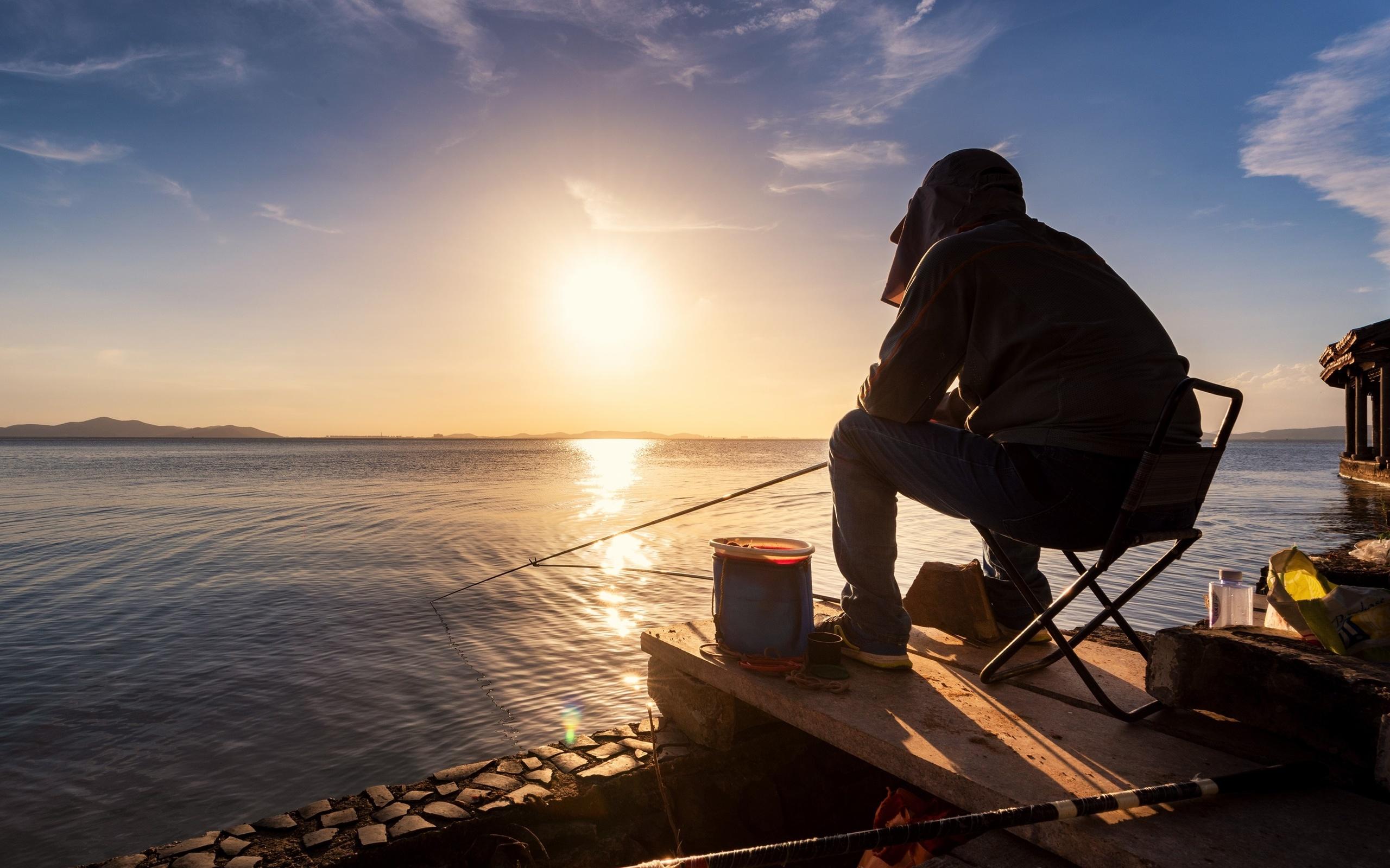 Человек, рыбалка, озеро, восход, утро