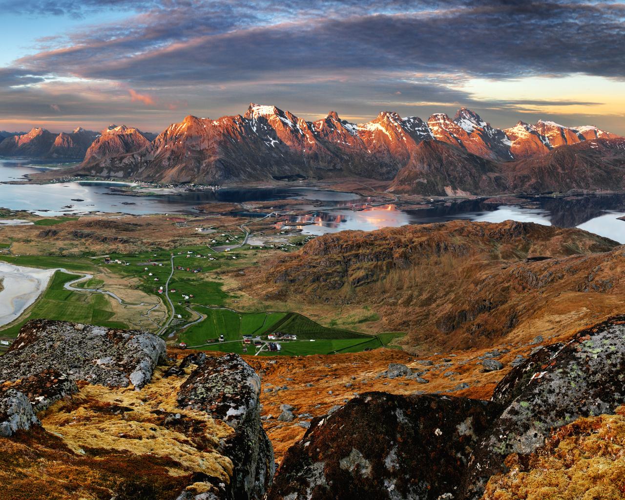 норвегия, лофотенские острова, пейзаж, горы, дома, залив, природа