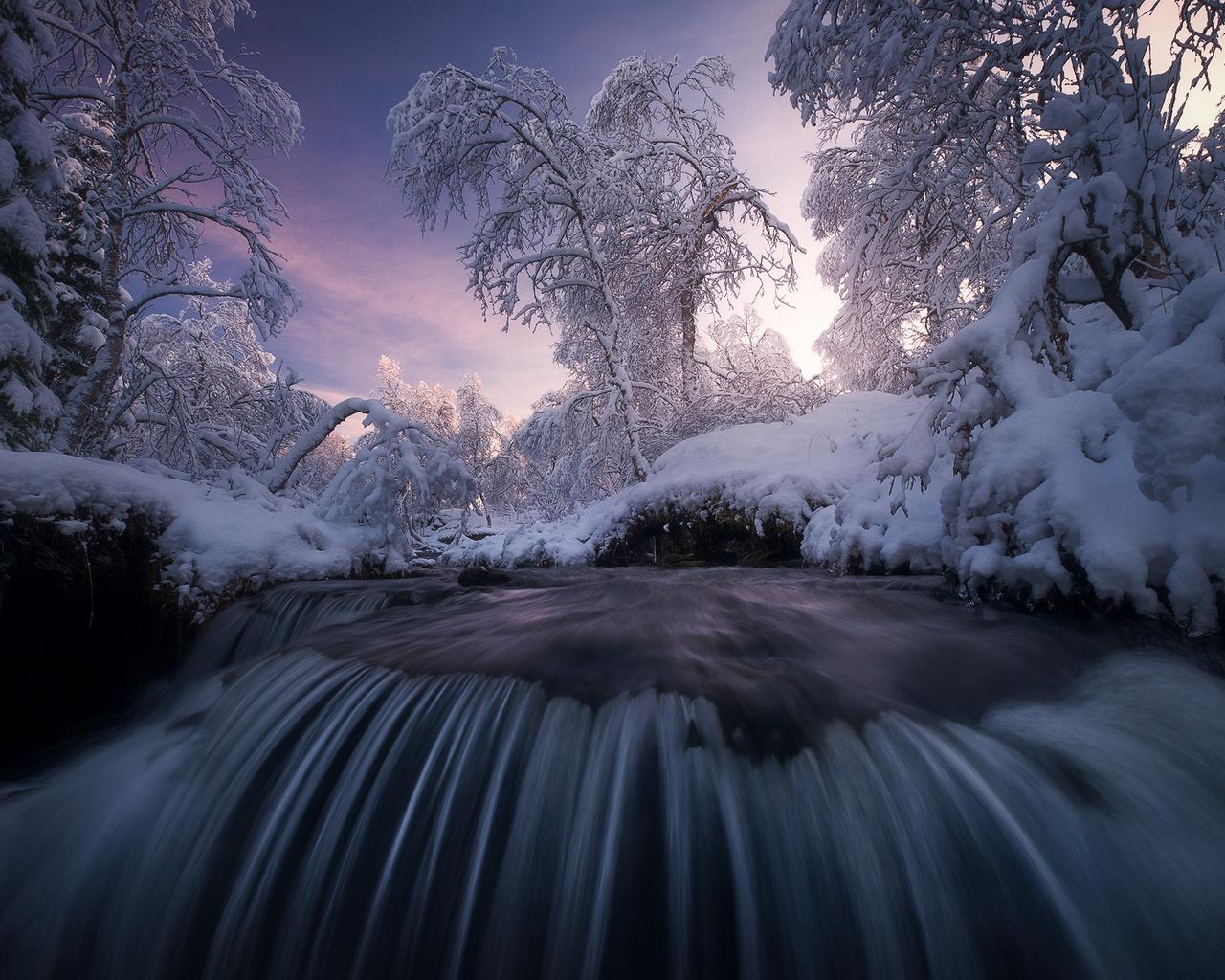 зима, снег, деревья, пейзаж, закат, природа, река, водопад, норвегия, каскад, порог, arild heitmann