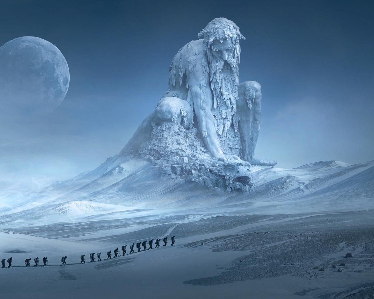 статуя, снег, зима, луна, странники
