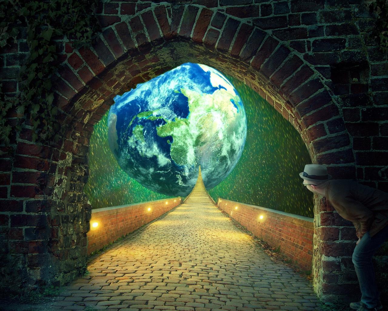 арка, дорога, планета, фотоманипуляция