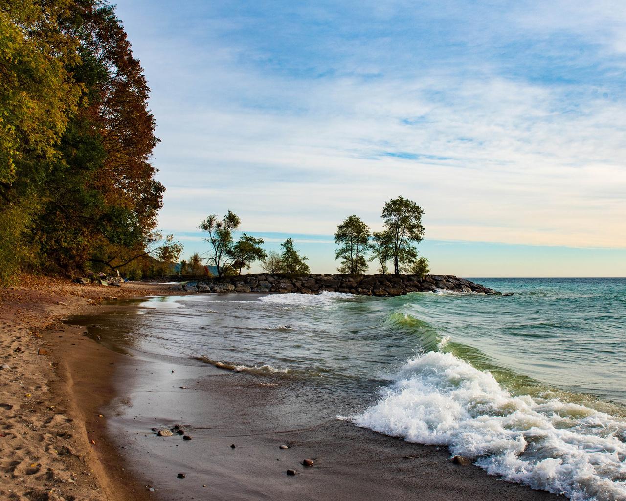 озеро, онтарио, торонто, вечер, закат, побережье, пляж, канада