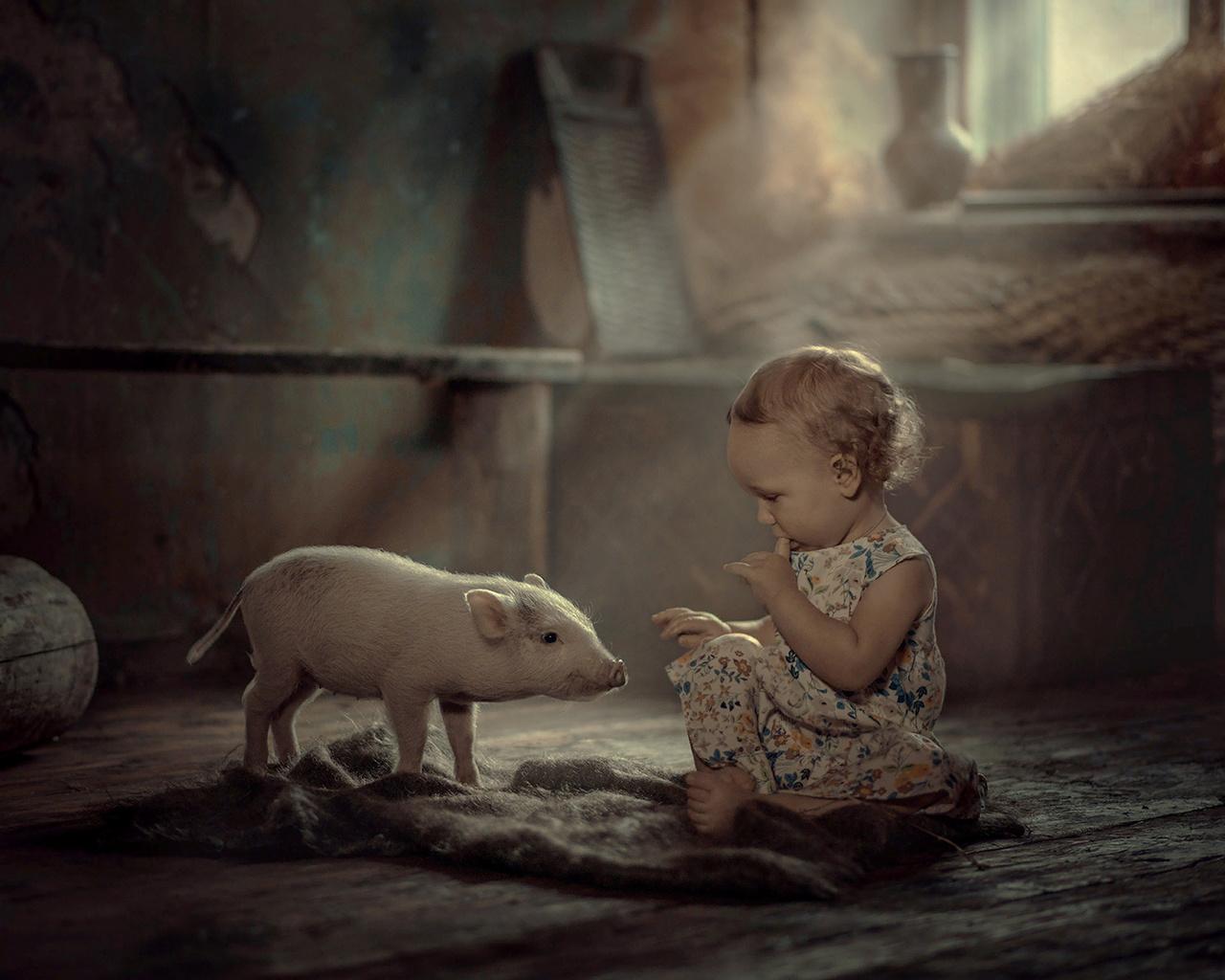 елена миронова, ребёнок, девочка, малышка, платье, босая, босиком, пол, платок, животное, поросёнок, детёныш, окно