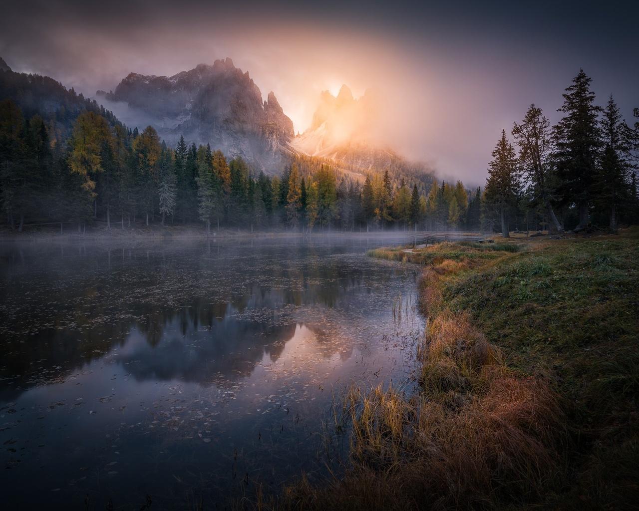 горы, деревья, туман, восход, река, утро