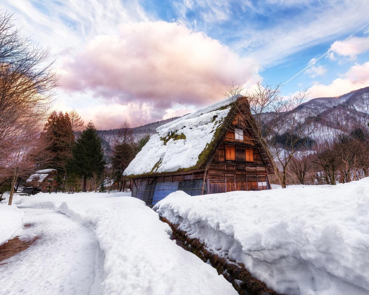зима, снег, природа, сугробы, домики