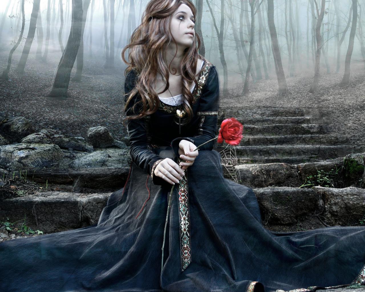 fantasy girl, роза, готика