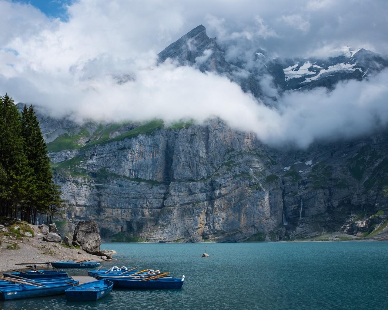 природа, пейзаж, горы, озеро, лес, деревья, лодки, облака