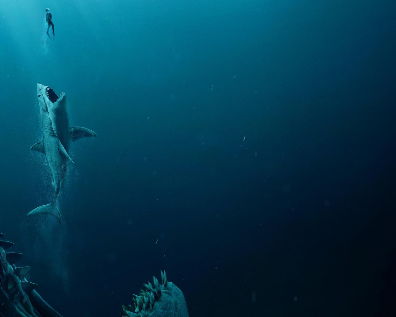 megalodon, подводный, мир, ситуация