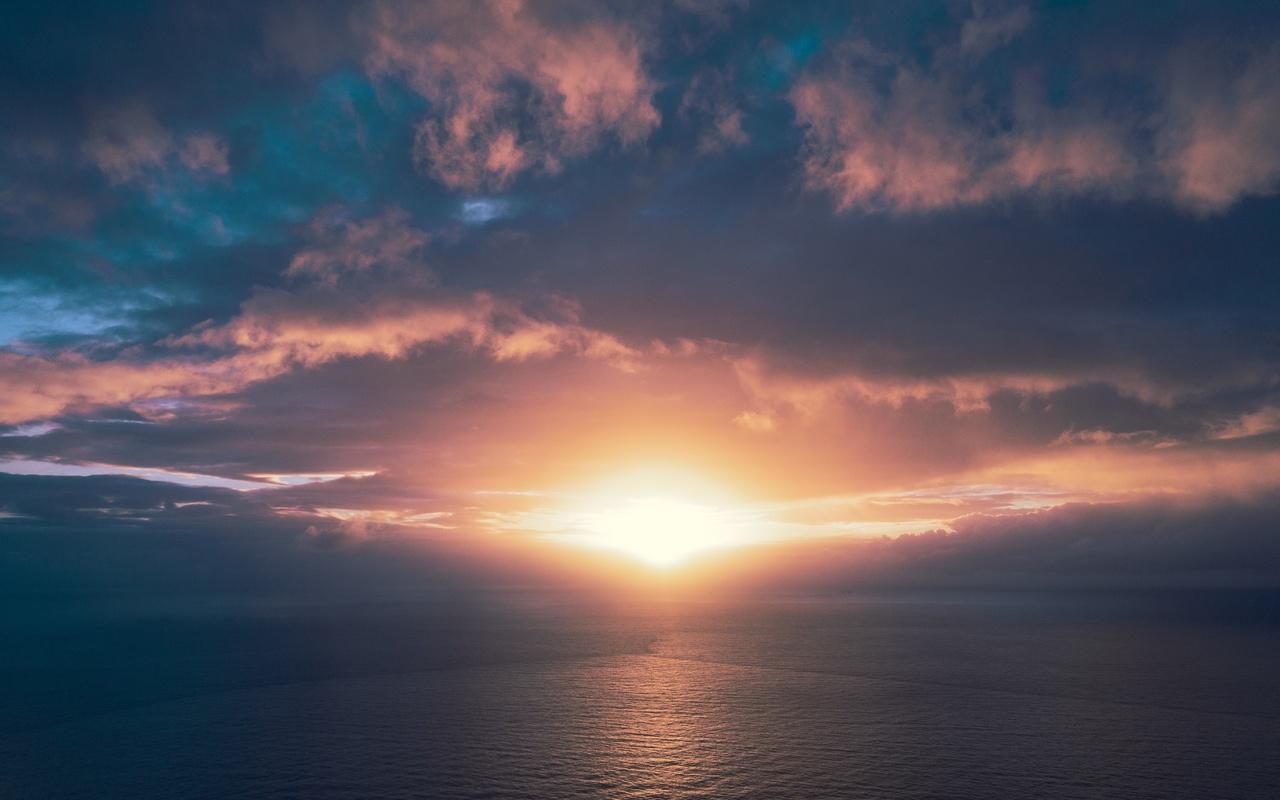 океан, закат, горизонт, небо, облака, солнечный свет, ньюпорт-бич, ориндж, калифорния, земля плоская