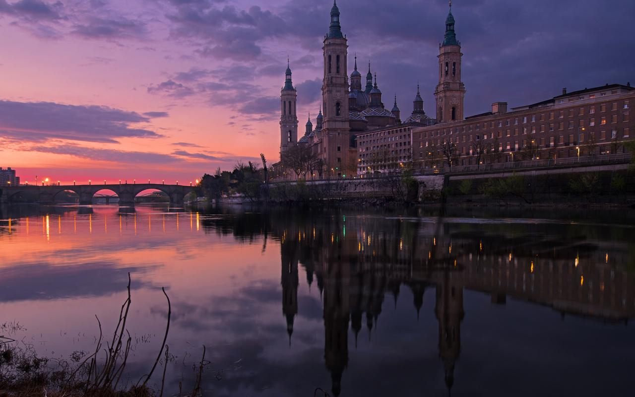 испания, дома, река, мост, вечер, zaragoza aragon, отражение, город