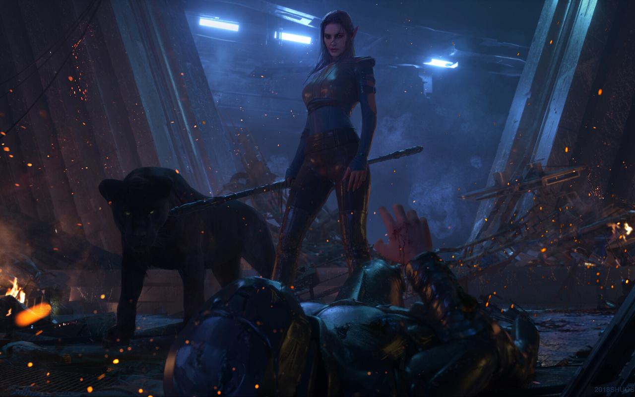 эльфийка, пантера, воин, фэнтези