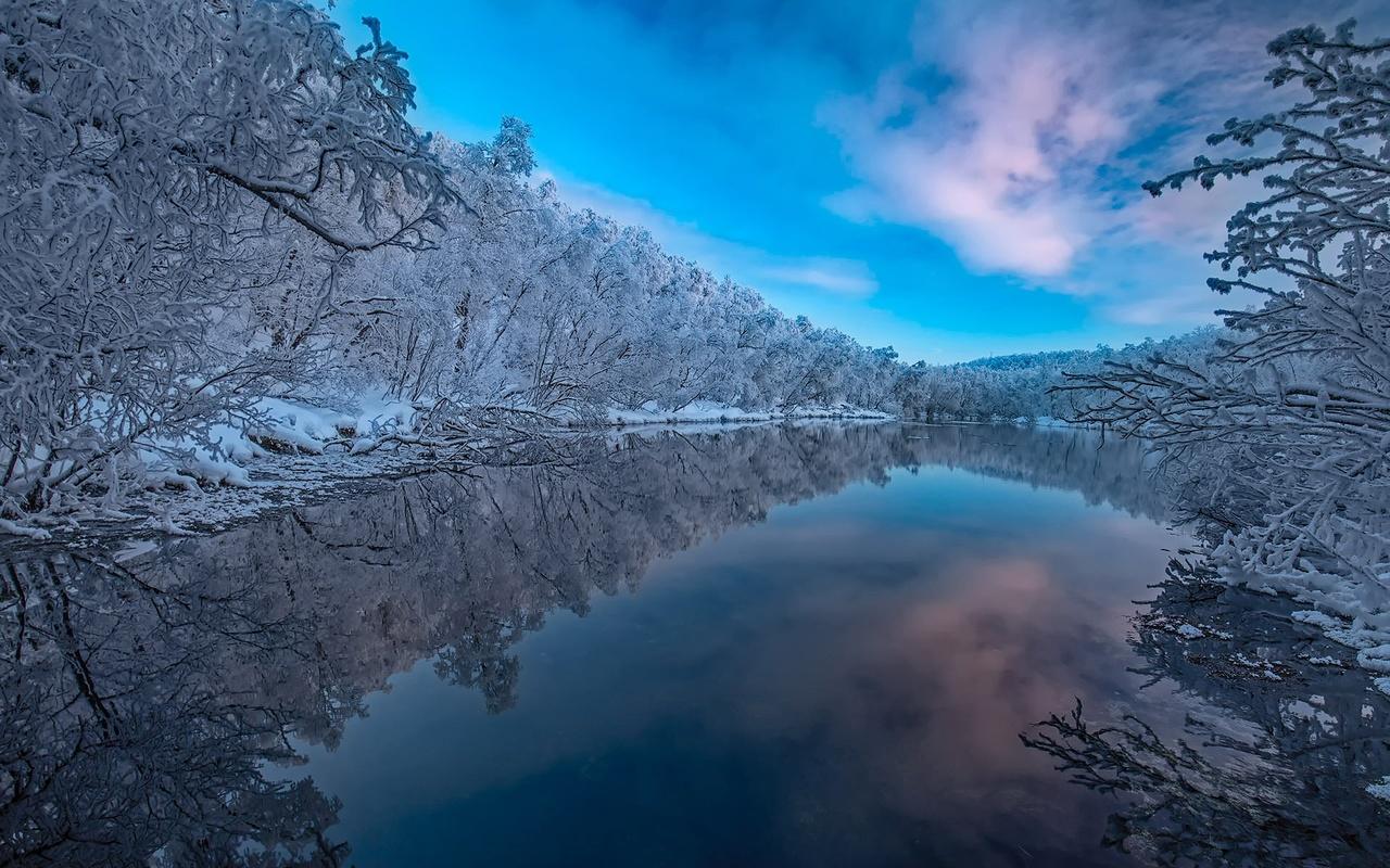 пейзаж, природа, зима, леса, деревья, отражение, река, берега, финляндия, finland, лапландия
