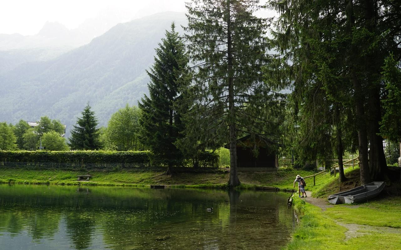 река, деревья, горы, лодки, альпы