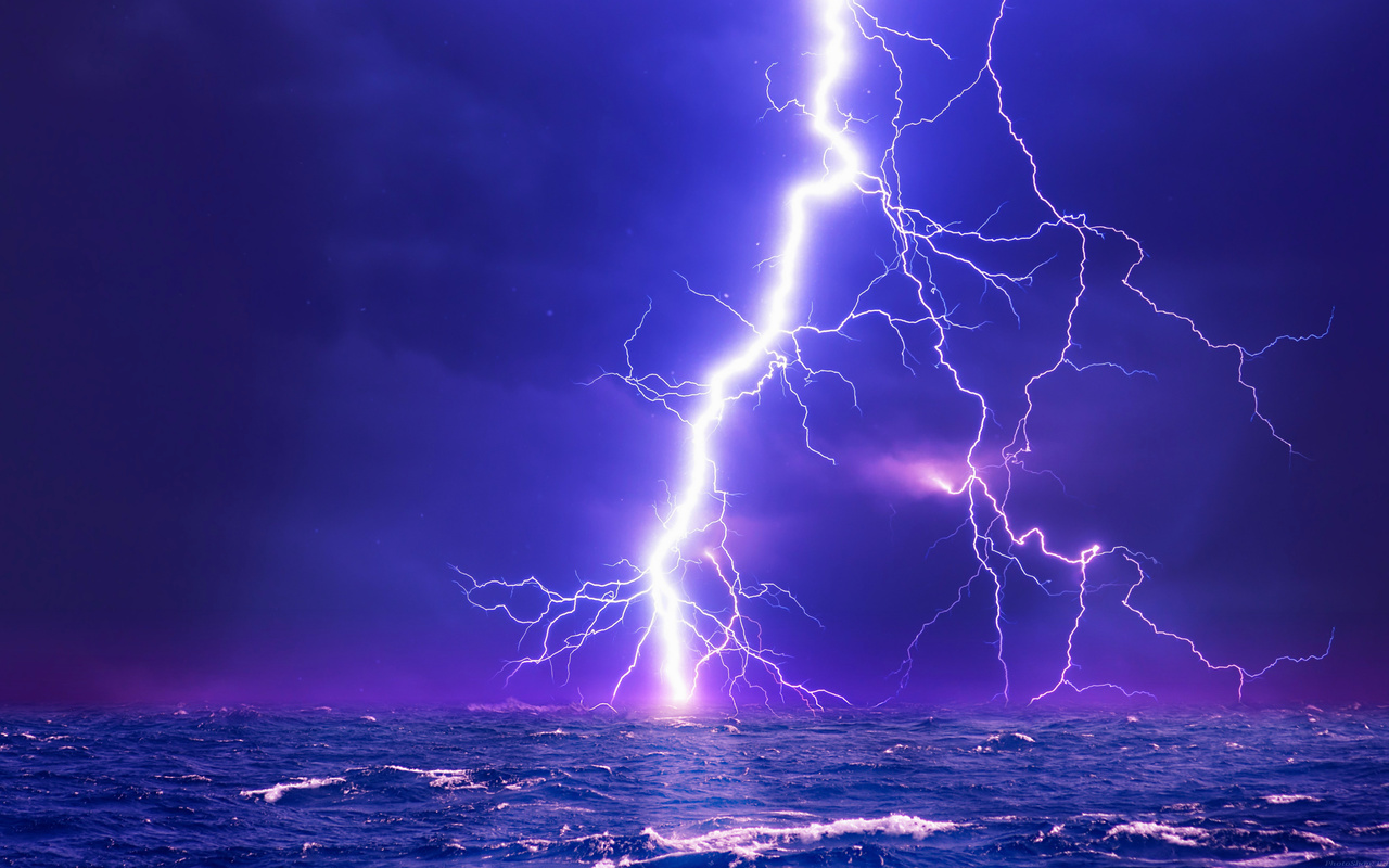 океан, небо, гроза, синее,фиолетовое,цвета,волны