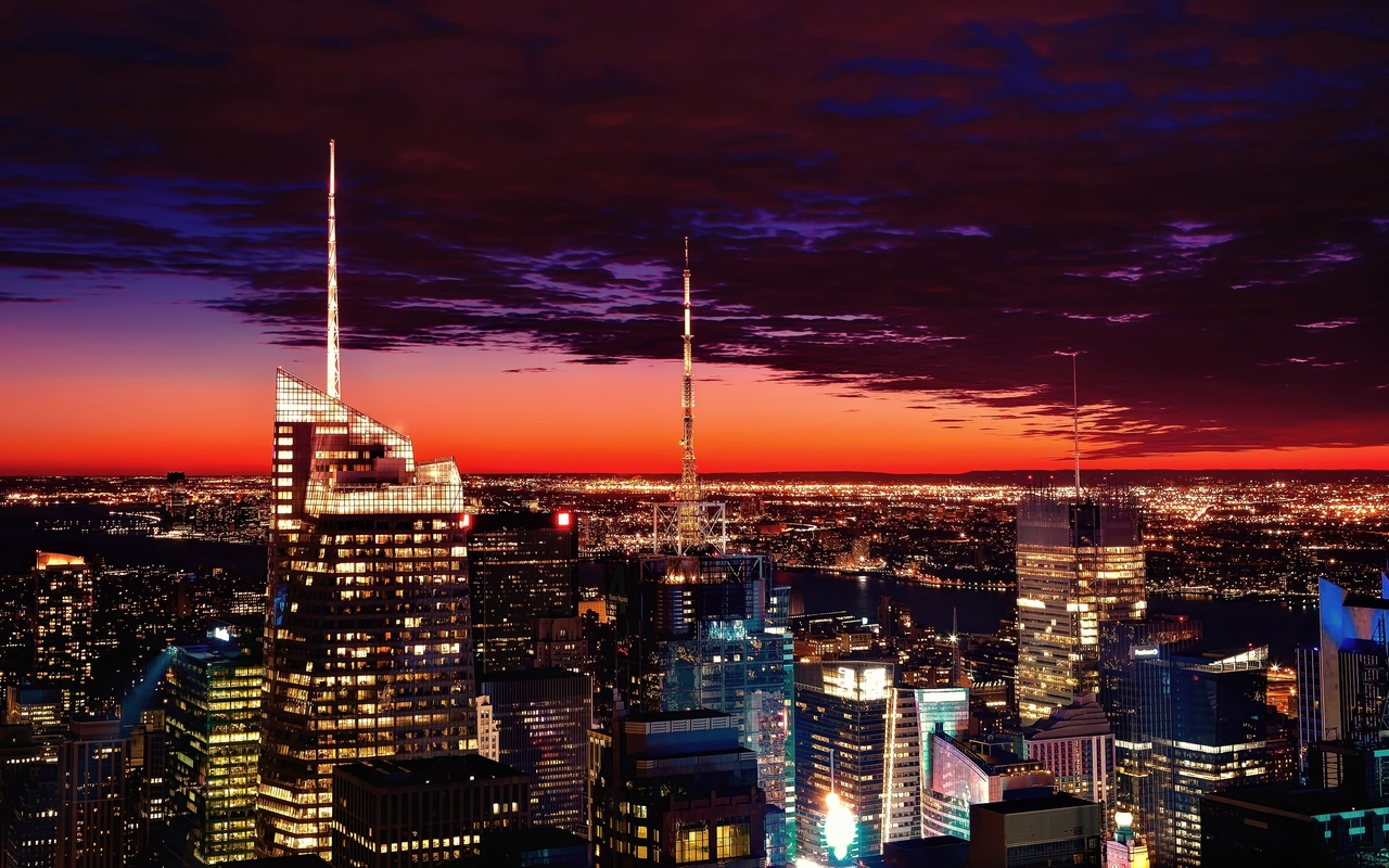 new york, sunset, skyscrapers, clouds, night, scenic, architecture, united states