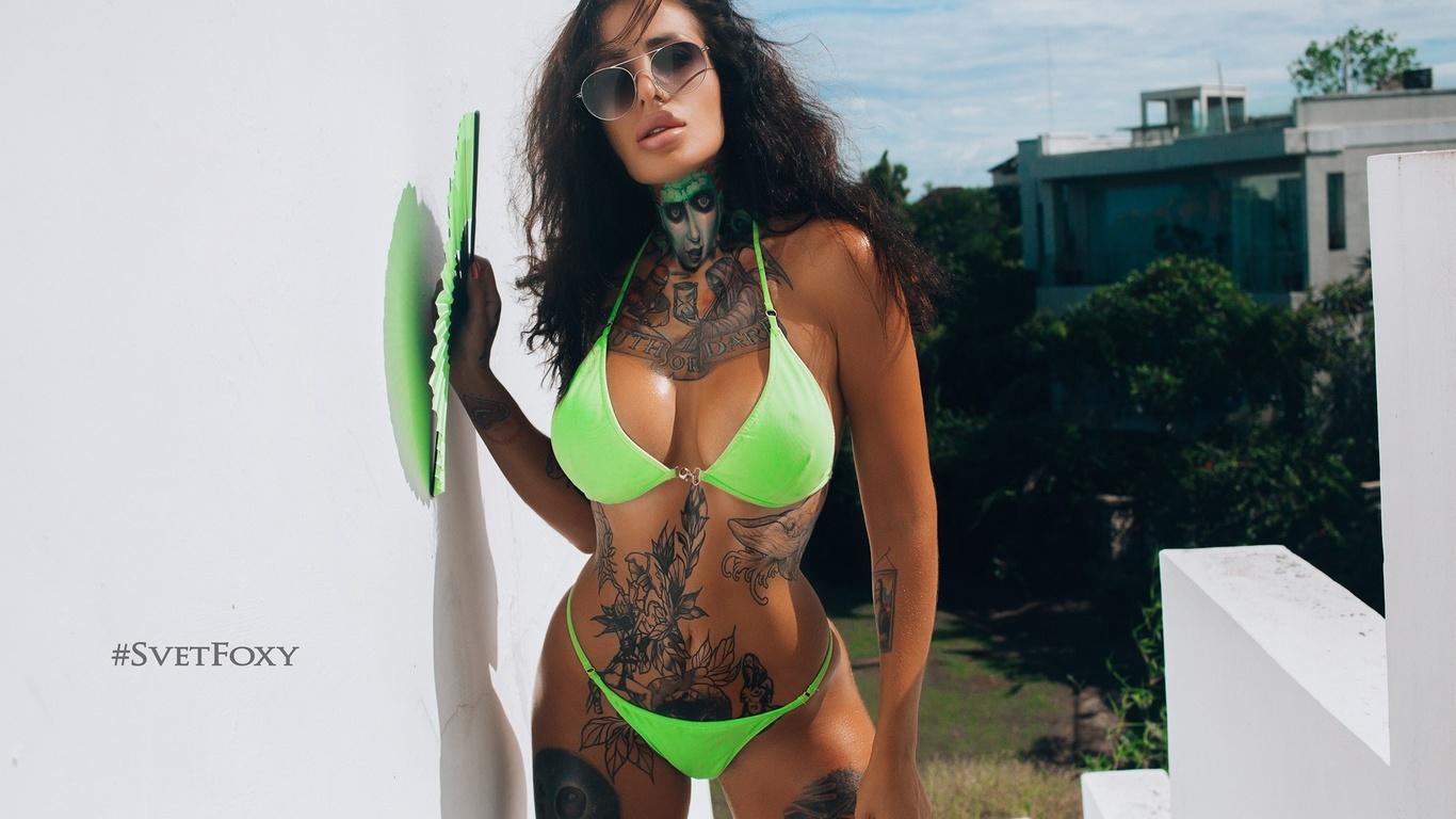 women, green bikini, tanned, svetlana nikonova, belly, tattoo, sunglasses, red nails