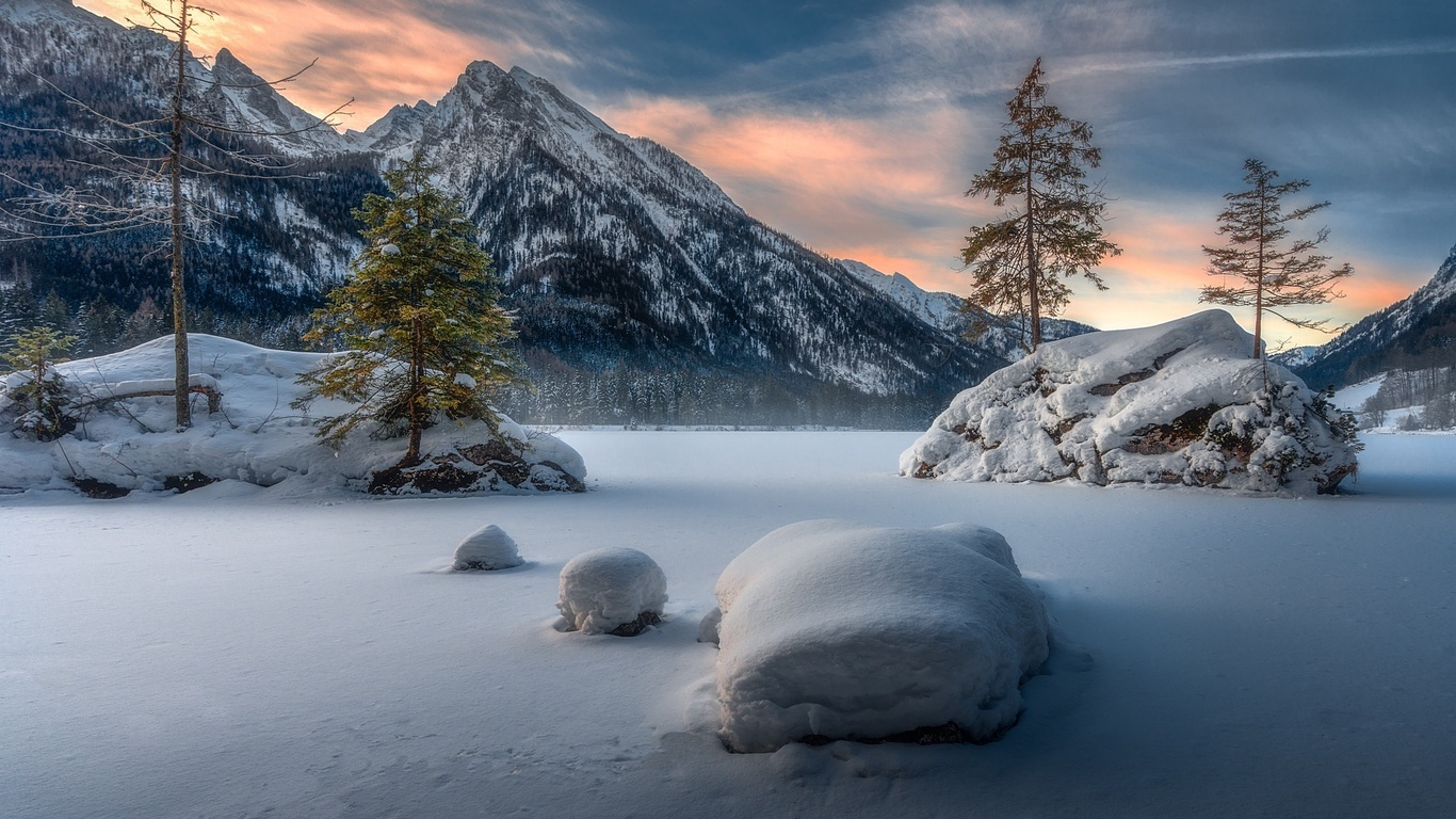 природа, пейзаж, зима, снег, горы, камни, деревья, озеро, германия, бавария