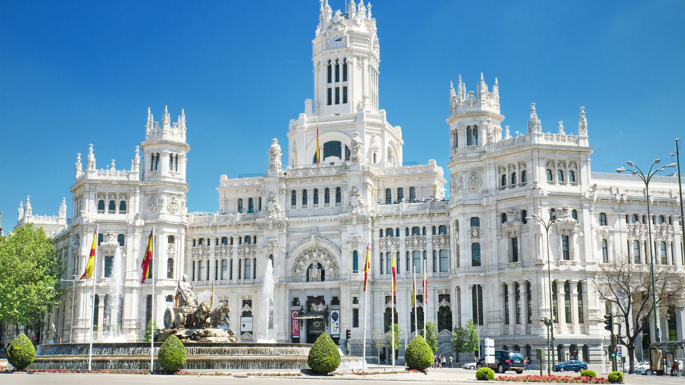 испания, мадрид, фонтан, памятник, cybele, palace, дворец, уличные фонари, город