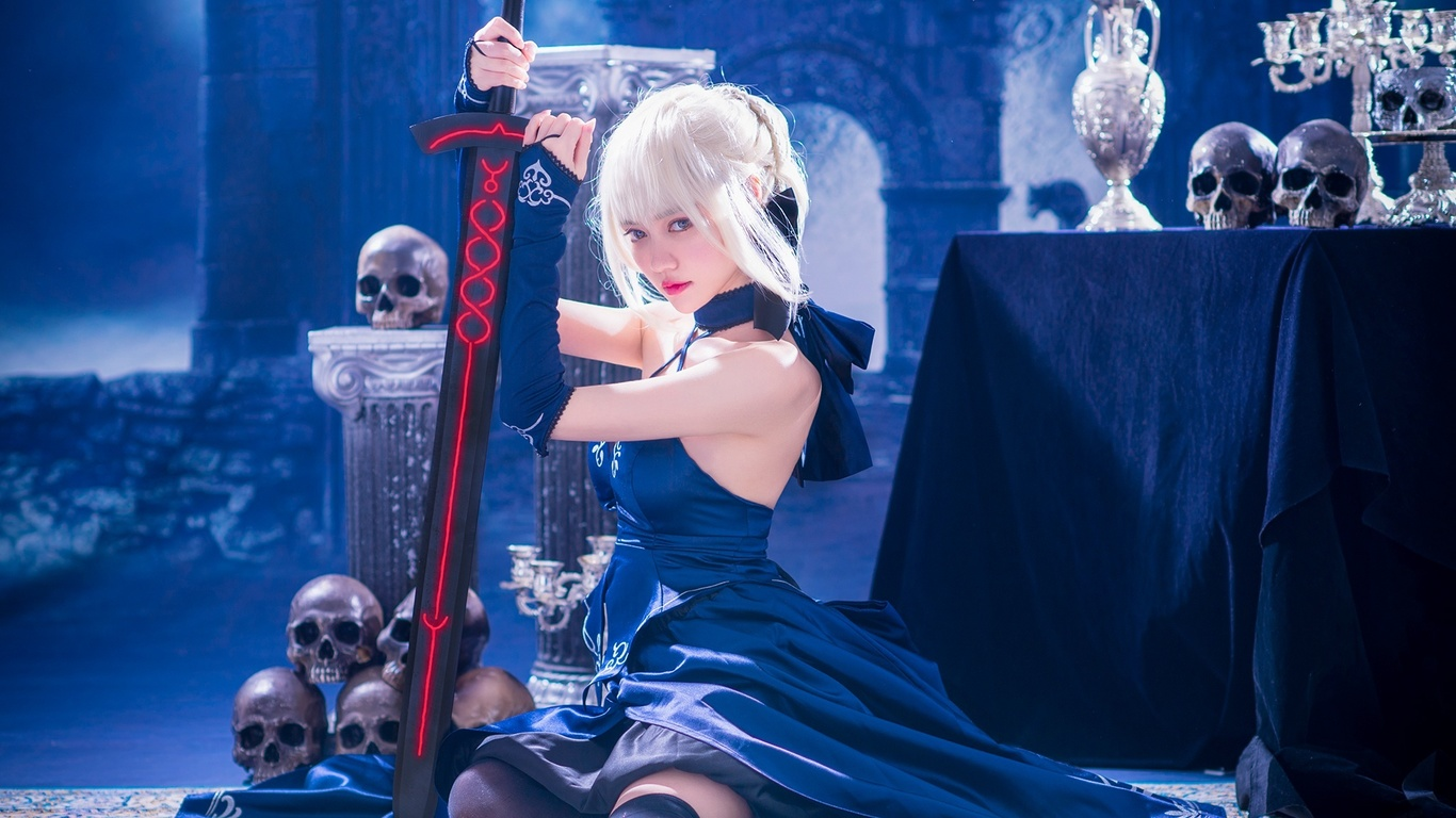 синий, замок, меч, чулки, фэнтези, черепа, fate, косплей, saber, saber alter
