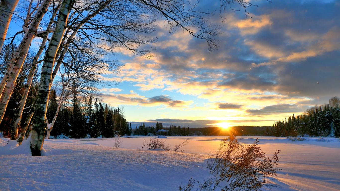 канада, квебек, природа, пейзаж, зима, снег, деревья, лес, закат, вечер, солнце, лучи, облака
