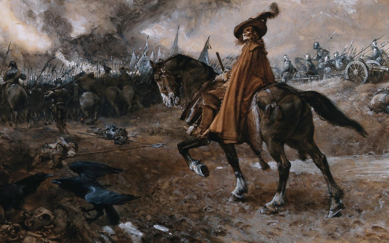 edgar bundy, death as general rides a horse on a battlefield, армия, битва
