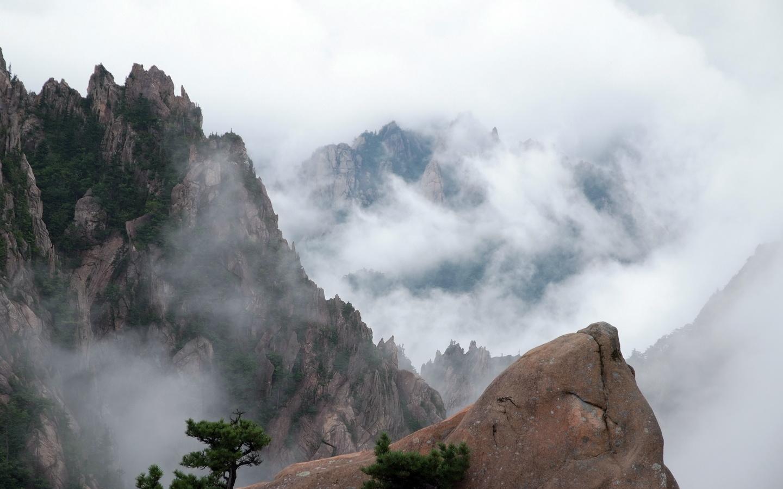 облака, горы, деревья, пейзаж