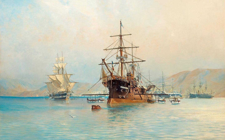 корабль, парусник, море, живопись
