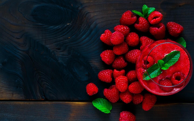малина, смузи, фрукты, фон, красный, вкусно