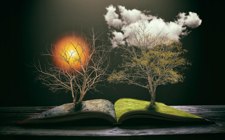 концепция экологии, сохранить землю, книга природы, эко, креатив, деревья, солнце, 3d