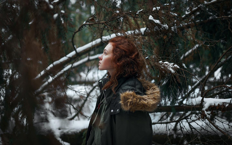 девушка, в лесу, зима, софья тарабан