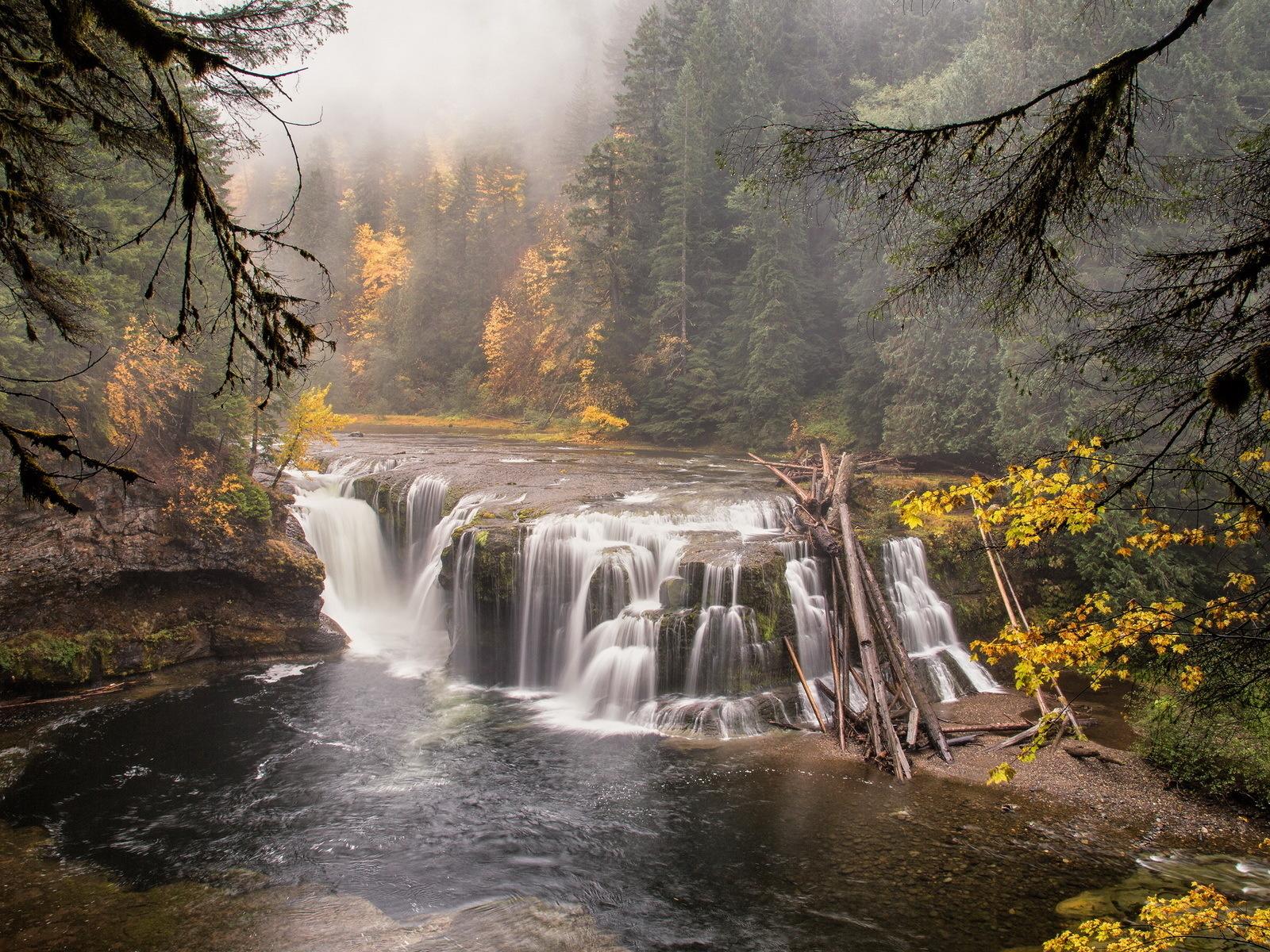 природа, пейзаж, деревья, лес, река, водопад, камни, туман