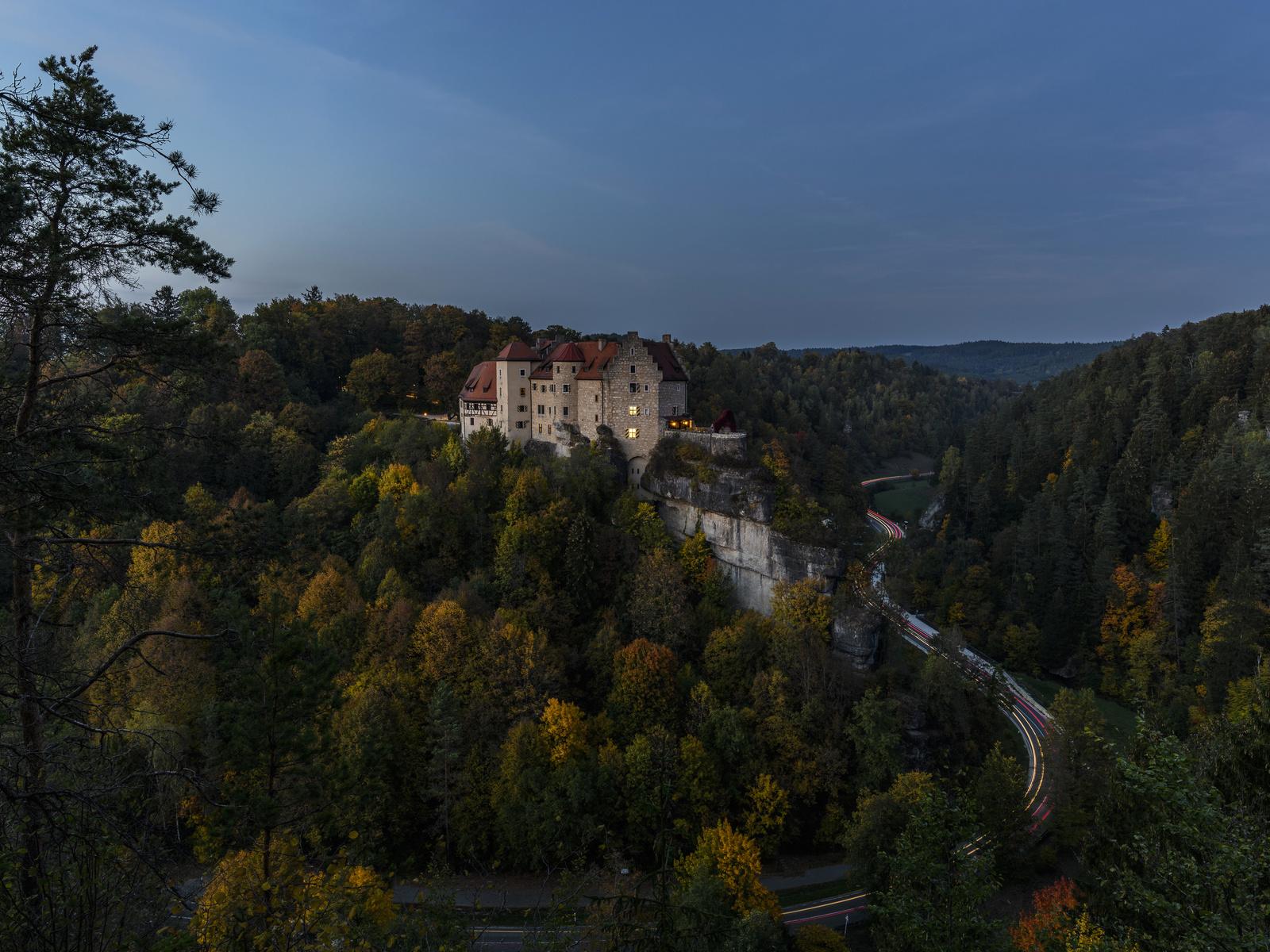 германия, замок, лес, дорога, вечер