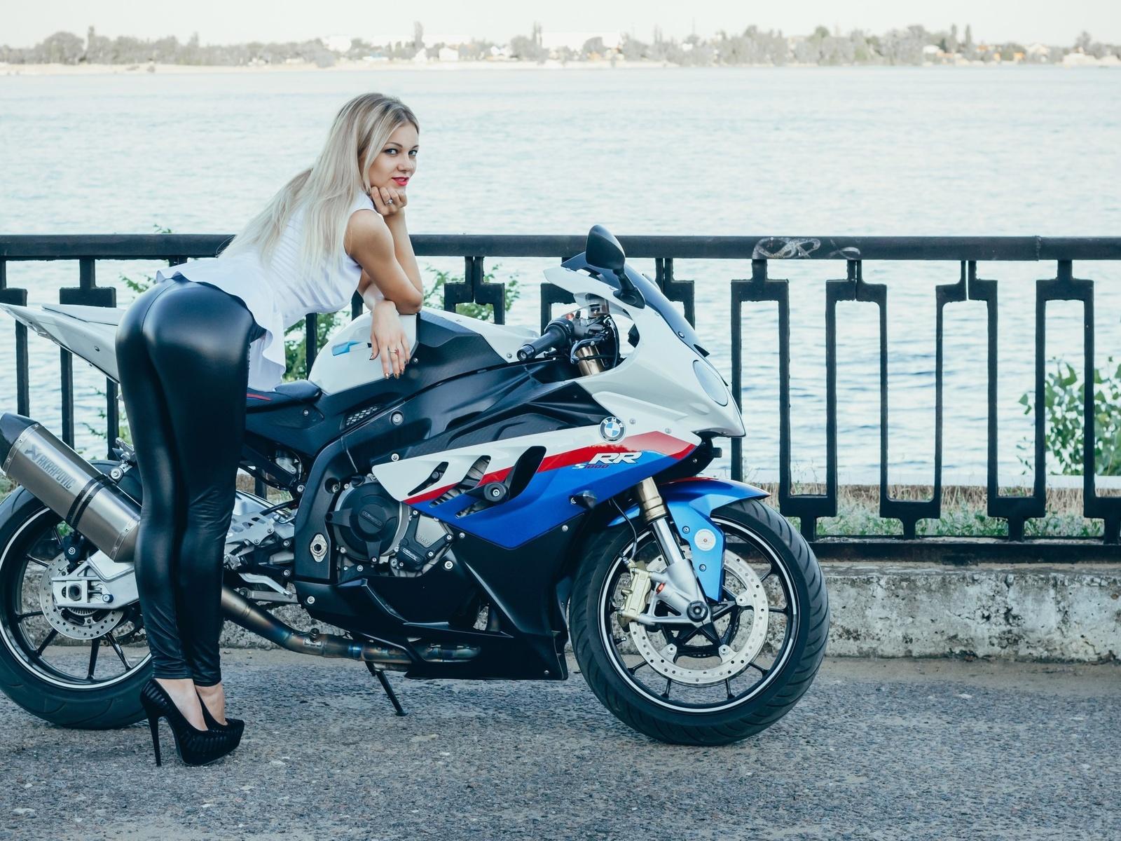 мотоцикл, девушка, байк, bmw, набережная