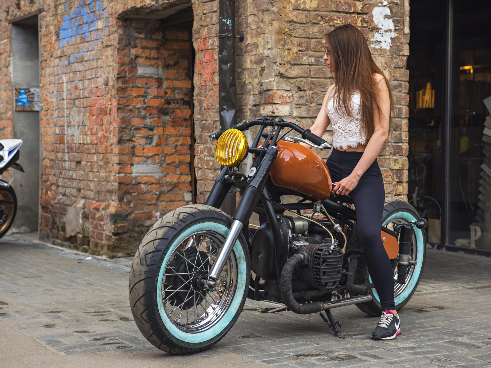 мотоцикл, девушка, улица