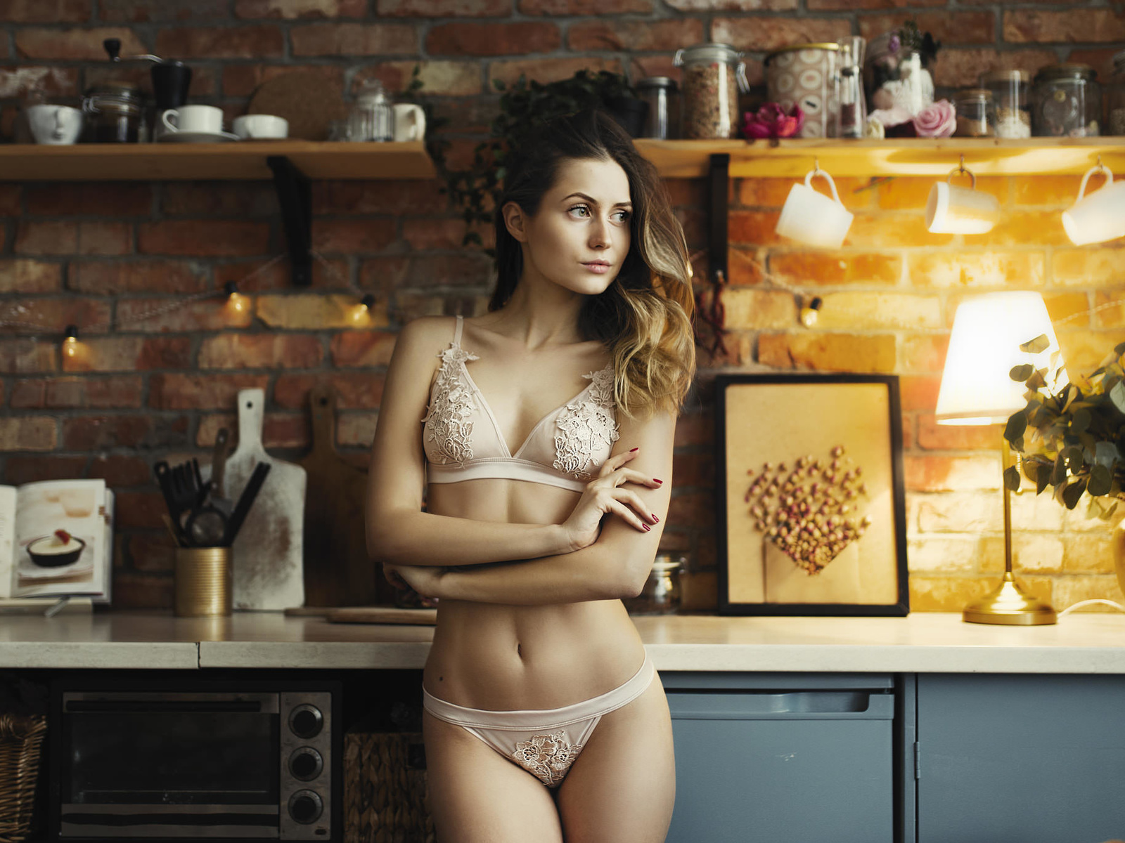 women, lingerie, belly, red nails, kitchen, lamp, looking away, brunette, arms crossed, bricks