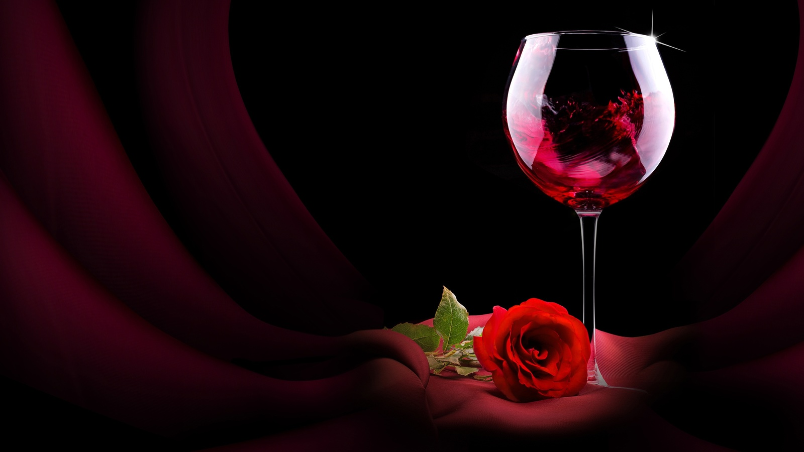 натюрморт, бокал, напиток, вино, цветок, роза, ткань, штора