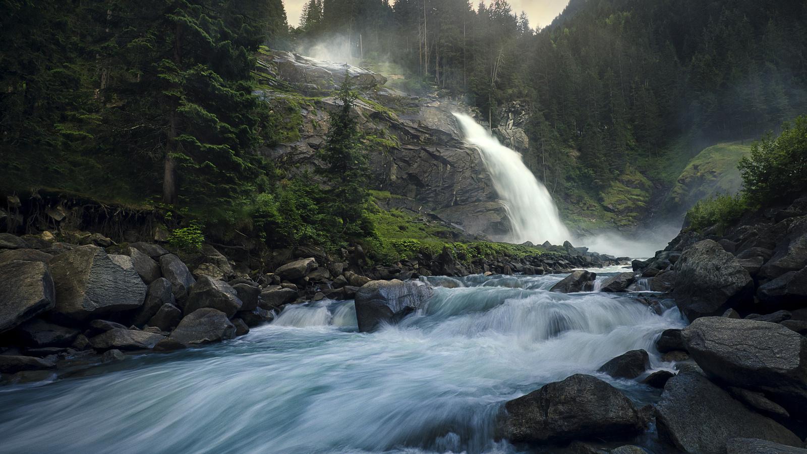 лес, пейзаж, природа, ручей, камни, скалы, течение, водопад, австрия, luka vunduk
