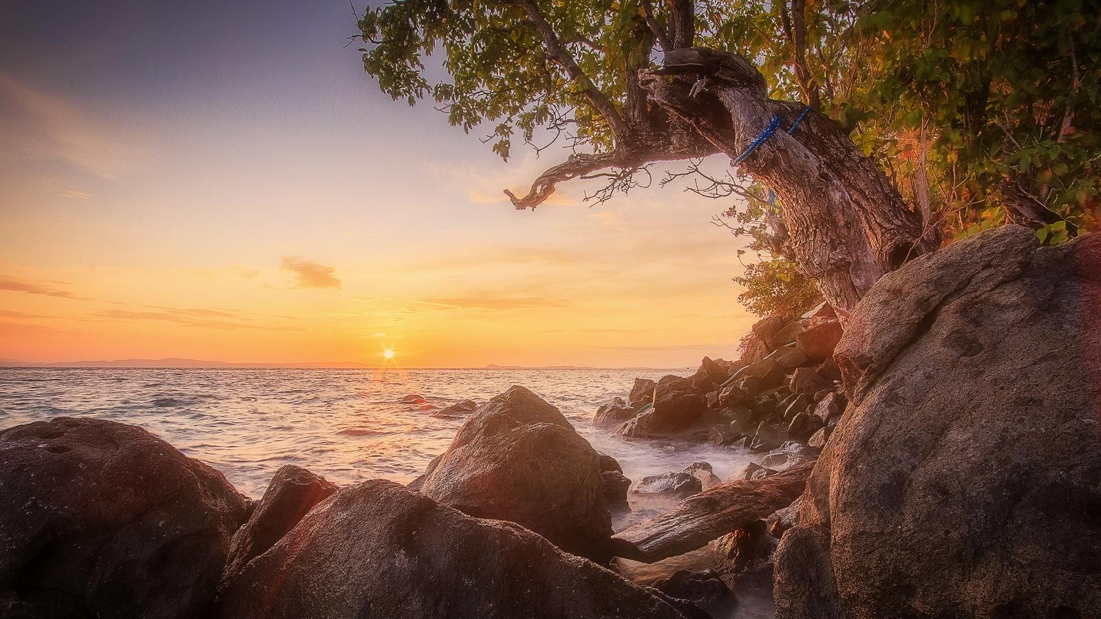 wolfgang moritzer, пейзаж, природа, индонезия, море, берег, камни, дерево, закат