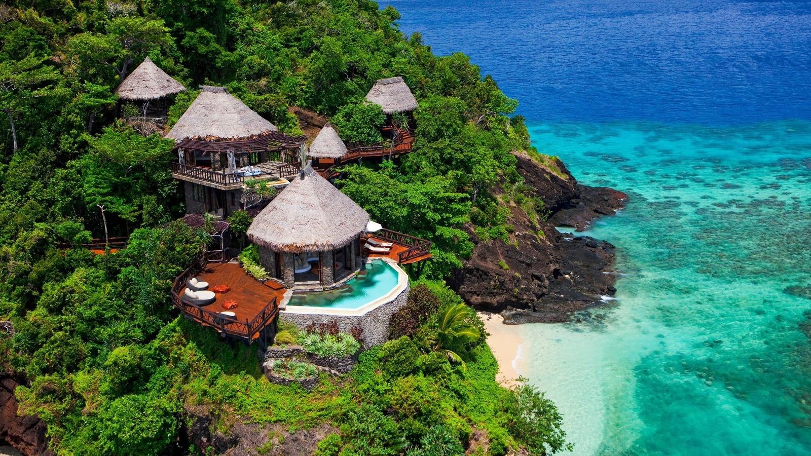 природа, пейзаж, тропики, океан, остров, гора, фиджи, курорт, растительность, бунгало