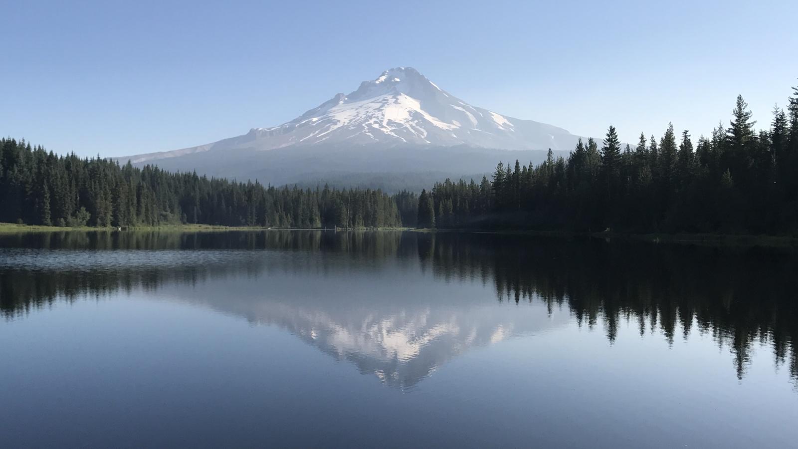 озеро, отражение, гладь, лес, горы, небо