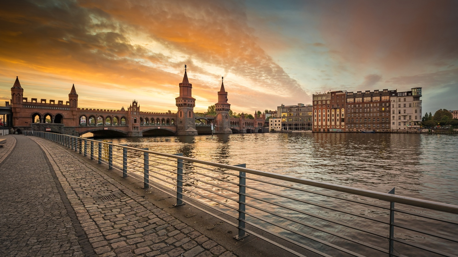 германия, берлин, набережная, река, мост, закат