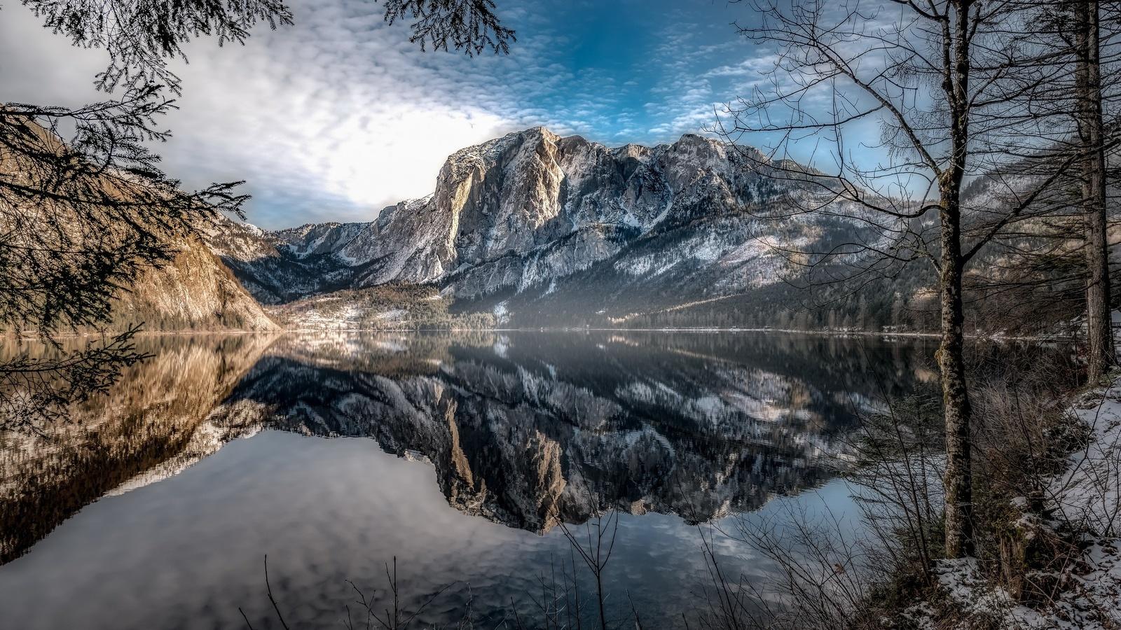 австрия, альтаусзее, горы, деревья, озеро, вода, отражение