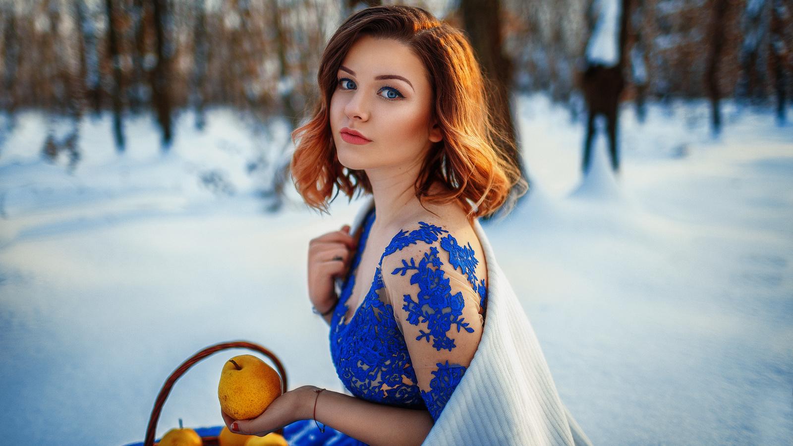 женщина, снег, зима, груши