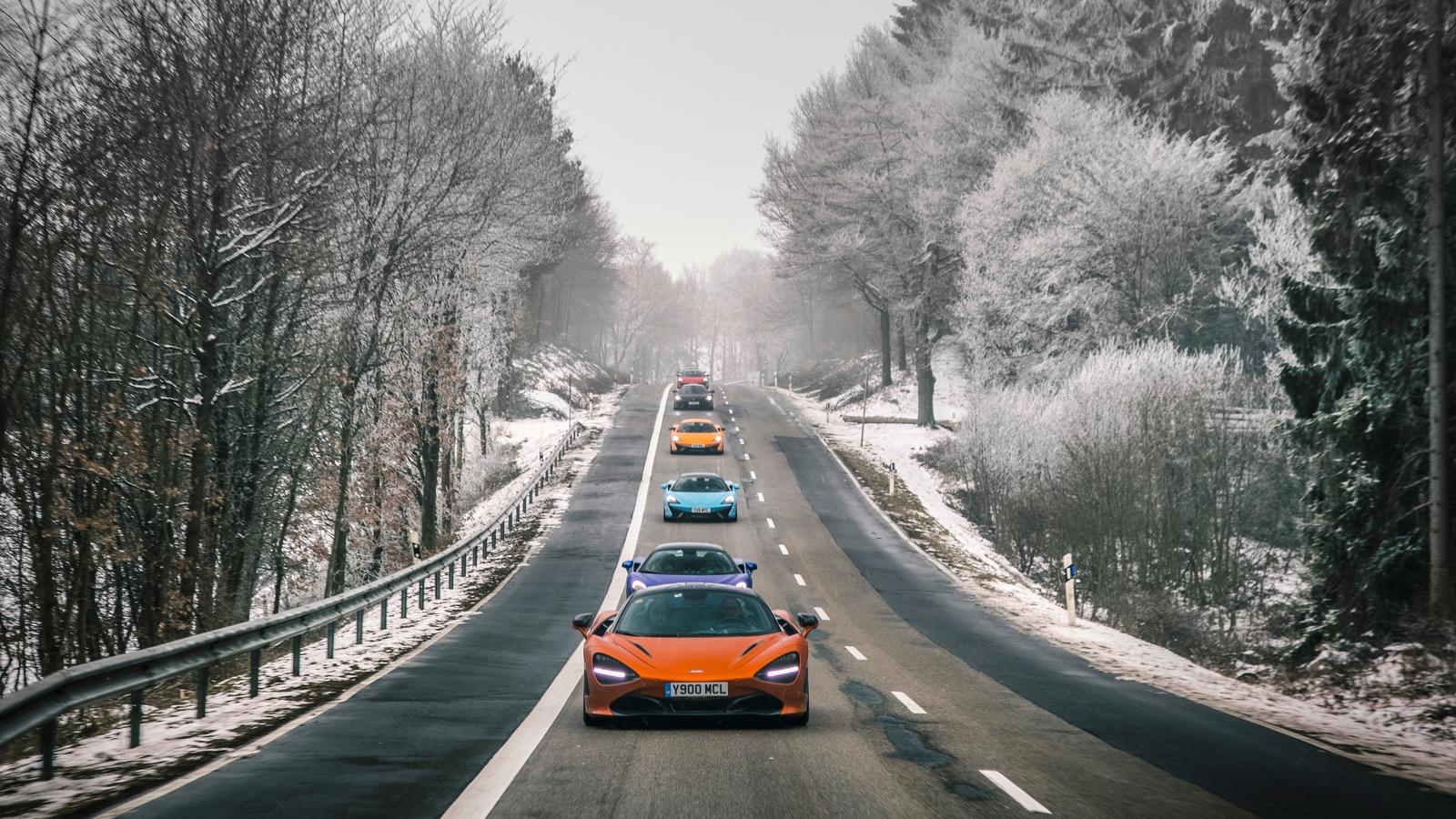 mclaren, дорога, зима