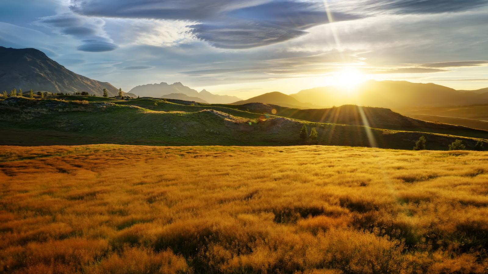 облако, поле, дикая местность, восход солнца, свет